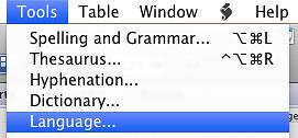 Screenshot of the language option