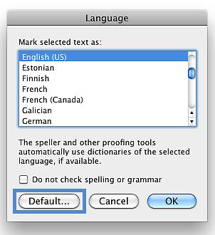 Screenshot of the language dialog box with the Default button highlighted