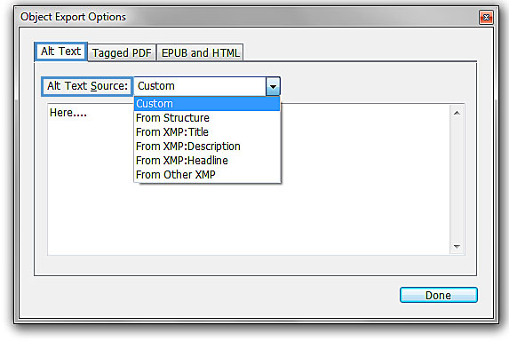 "Image demonstrates the changes that should occur under ""Alt Text"" in the ""Object Export Options"" box."