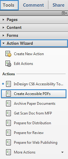 "Image locates ""create accessible PDF's"" in the tool bar drop down menu."