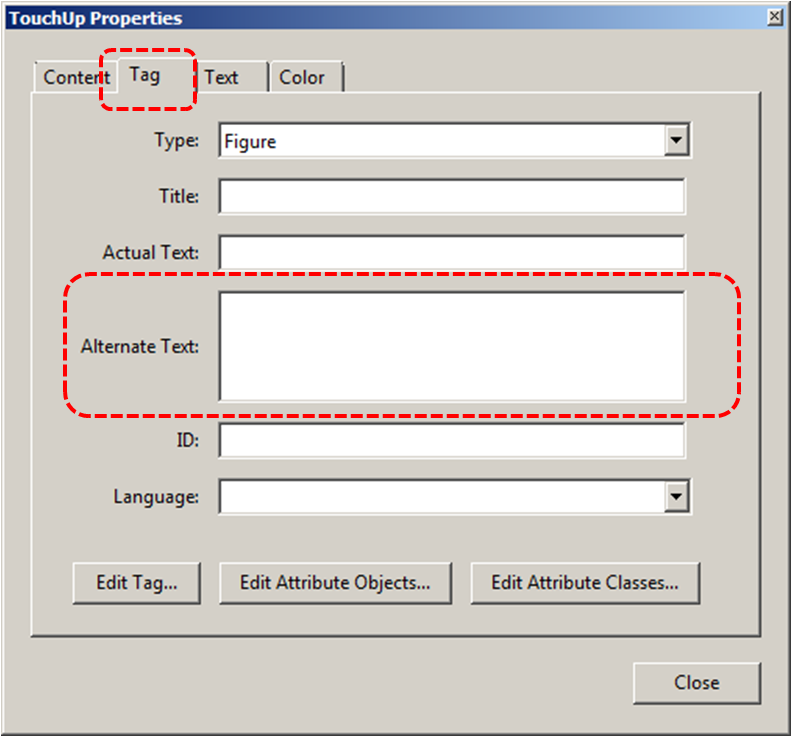 Image demonstrates location of Tag tab and Alternate text box in the TouchUp Properties dialog.