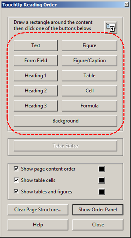 Image demonstrates the location of the buttons for selecting the tag type.