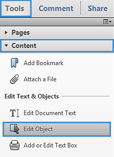 "Image locates ""Edit object"" in the tool bar drop down menu."