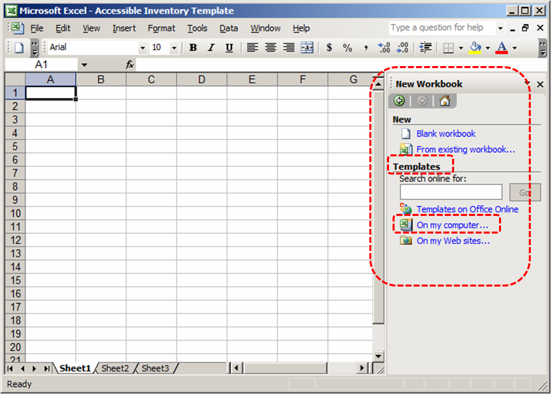 microsoft excel 2003 template