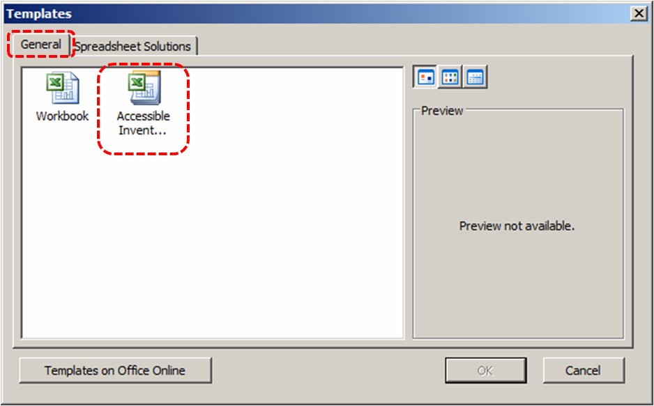 Image demonstrates location of General tab and an accessible template icon in the template gallery of the Templates dialog.