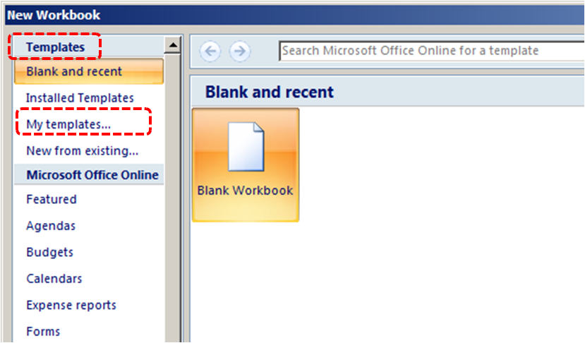 Image demonstrates location of My templates... option under Templates in the New Workbook dialog.