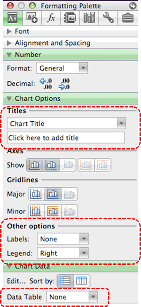 Image demonstrates location of Titles options, Other options, and Data Table option in Chart Options and Chart Data sections of the Formatting Palette.