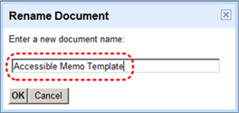 Image demonstrates location of document name text box in the Rename Document dialog.