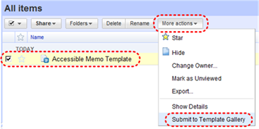 Image demonstrates location of Submit to Template Gallery option in the More actions drop-down menu.