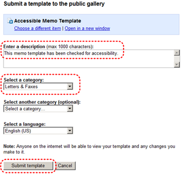 Image demonstrates location template description text box, category drop-down menu options, and Submit template button.