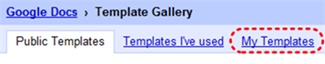 Image demonstrates location of My templates tab in the Template Gallery.