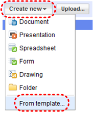 Image demonstrates location of Create new button and From template... option in drop-down menu.