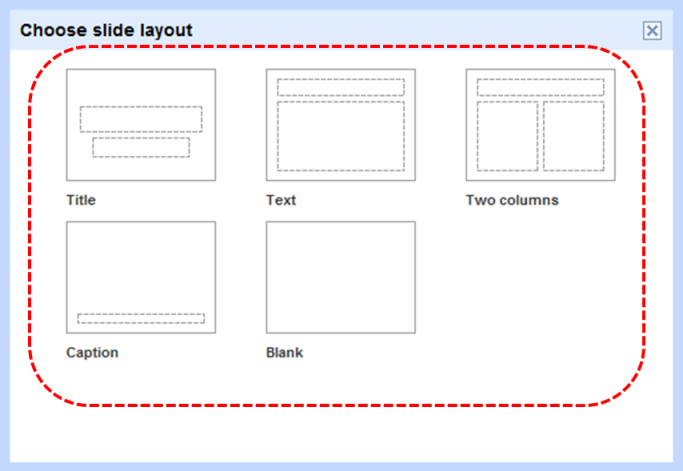 Image demonstrates layout gallery in Choose slide layout dialog.