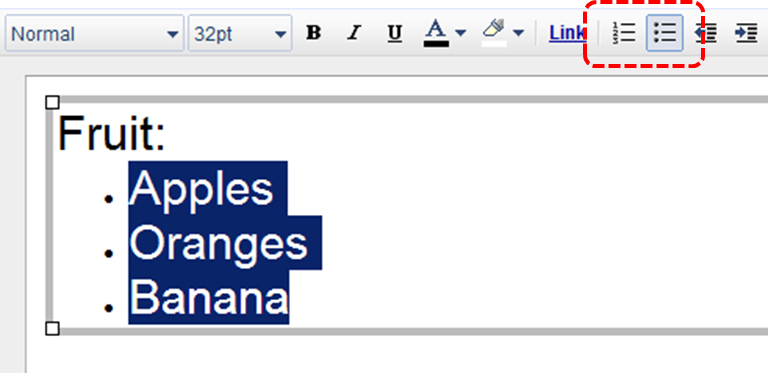 Image demonstrates location of list buttons in menu bar.
