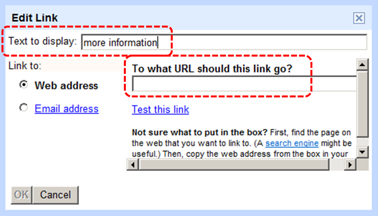 Image demonstrates location of Text to display box and To what URL should this link go? box in Edit Link dialog.
