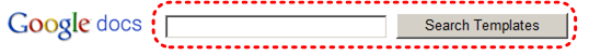 Image demonstrates location of Search Templates button and text box beside Google docs logo.