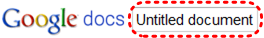 Image demonstrates location of title text box next to Google docs logo.