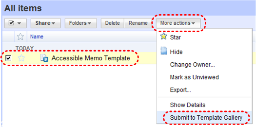 Image demonstrates location of Submit to Template Gallery option in More actions drop-down menu.