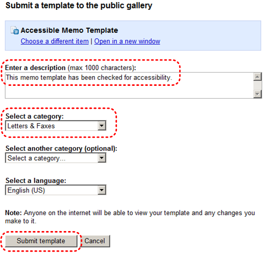 Image demonstrates location of description box, select a category drop-down menu, and Submit template button.