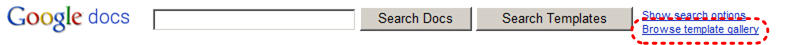 Image demonstrates location of Browse template gallery link beside Search Templates button.