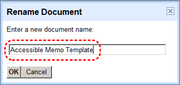 Image demonstrates location of document name box in Rename Document dialog.