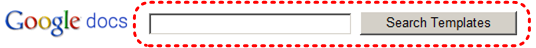Image demonstrates Search Templates button and text box beside Google docs logo.