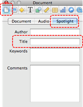 Image demonstrates location of Document inspector button, Spotlight tab, and Title text box in Inspector dialog.