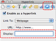 Image demonstrates location of Hyperlink inspector button and Display text box in Inspector dialog.