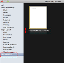 Image demonstrates location of My template option and template icons in Template Chooser dialog.