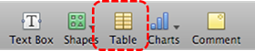 Image demonstrates location of table element in Toolbar.