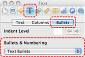 Image demonstrates location of Text inspector button, Bullets tab, and Bullets & Numbering section of Inspector dialog.