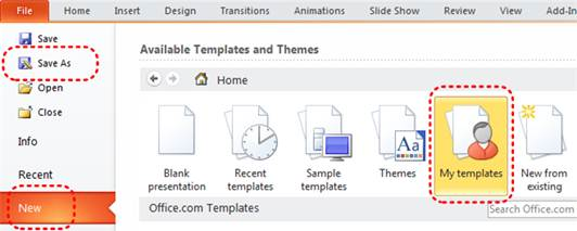 Image demonstrates location of New option and My templates icon in File menu.
