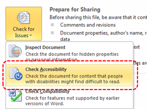 Image demonstrates location of Check Accessibility option in the Check for Issues drop-down menu.