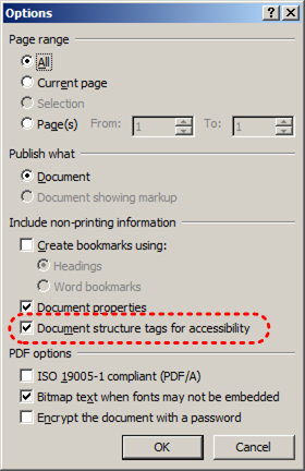Image demonstrates location of Document structure tags for accessibility option in the Options dialog.