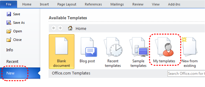 Image demonstrates location of New menu item and My Templates icon in the File menu.