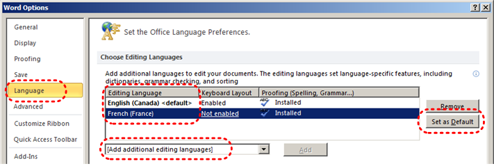 Image demonstrates location of Language option, Editing Language options, Set as Default button, and Add additional editing languages drop-down menu in the Options dialog.