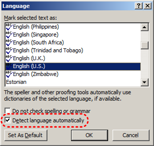 Image demonstrates location of Detect language automatically option in the Language dialog.