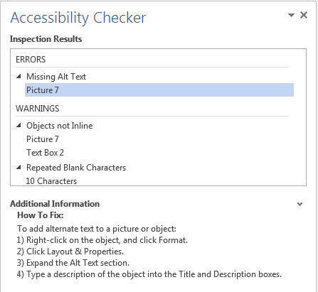 Image demonstrates location of Additional Information in the Accessibility Checker task pane.