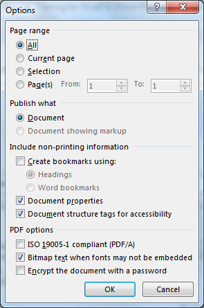 Image demonstrates location of Document structure tags for accessibility option in the PDF Save Options dialog.