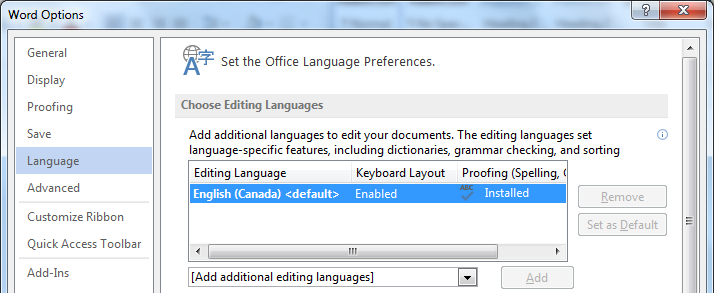 Image demonstrates location of Language option, Editing Language options list, Set as Default button, and Add additional editing languages drop-down menu in the Options dialog.