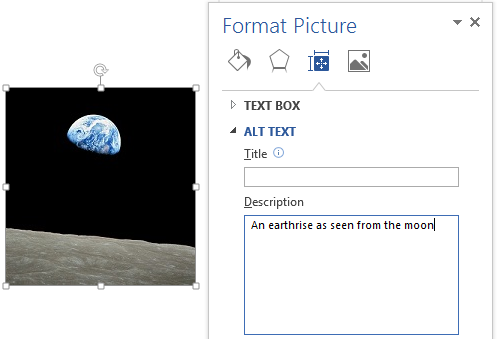Image demonstrates location of Title and Description boxes in the Alt Text section of the Format Picture dialog.