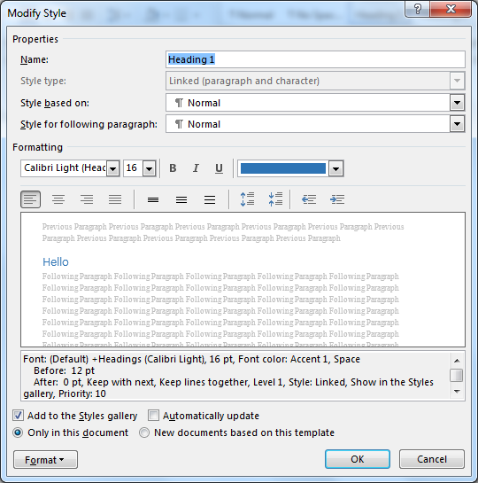 Image demonstrates the modify style dialog box. The name of the style is the first textbox followed by the styles it is based on and then the numerous style setting controls.