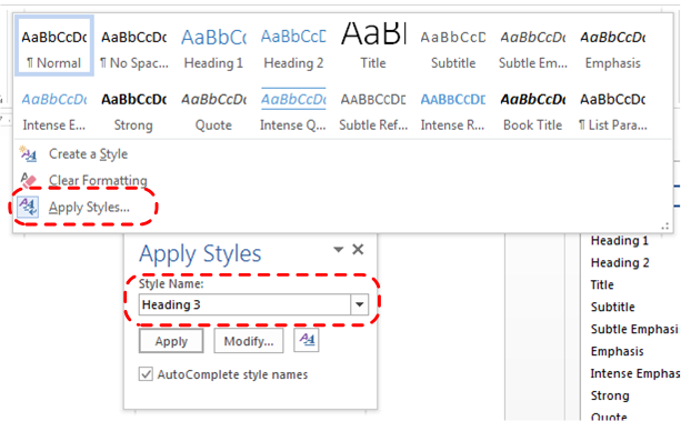 Image demonstrates how the user can typle 'Heading 3' into the Apply Styles dialog.