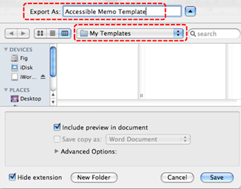 Image demonstrates location of Export As box and save location drop-down menu.