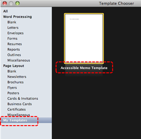 Image demonstrates location of My Templates option and template icons in Template Chooser dialog.