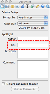 Image demonstrates location of Title box in Document section of Inspector dialog.