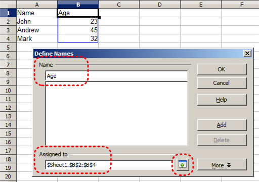 Image demonstrates location of Age box, Assigned to box, and Maximize button in Define Names dialog.