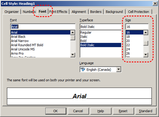 Image demonstrates location of Font tab and size options in Cell Style dialog.