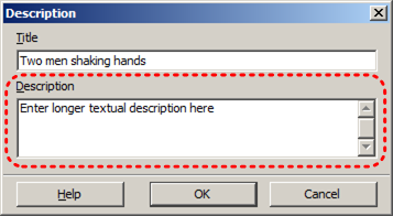 Image demonstrates location of Description box in Description dialog.