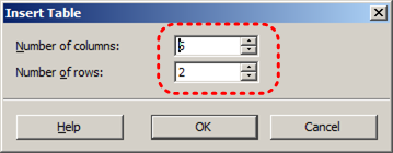 Image demonstrates location of column number and row number options in the Insert Table dialog.